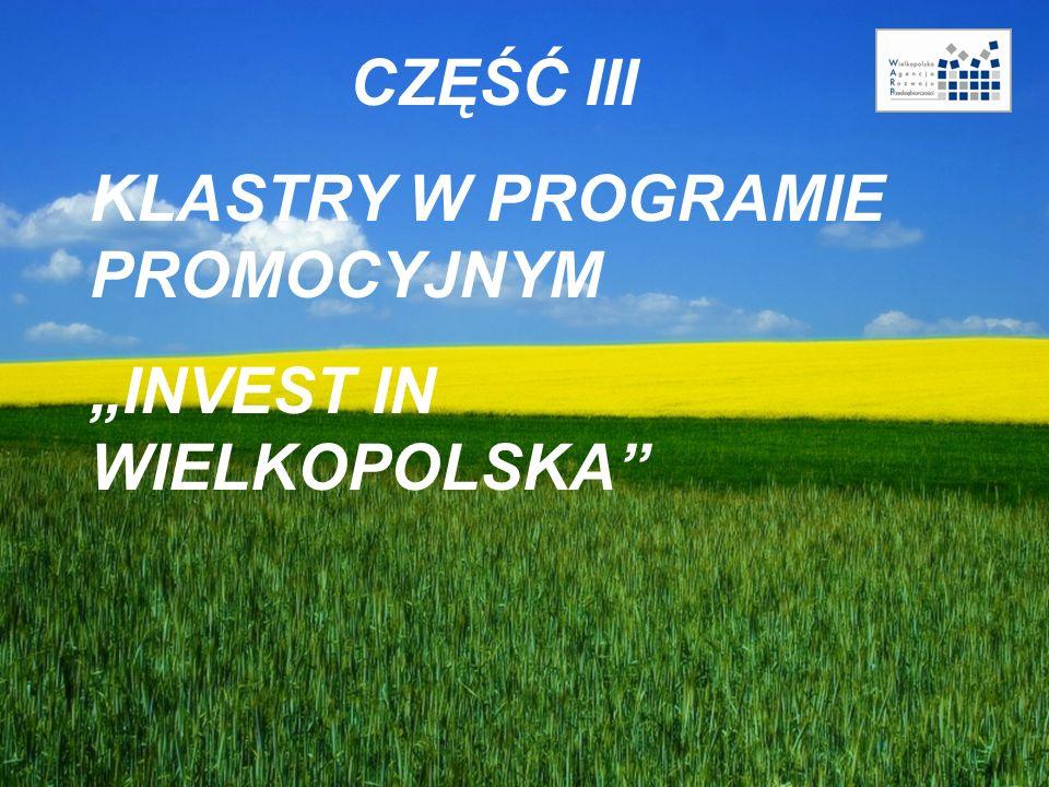 """CZĘŚĆ III KLASTRY W PROGRAMIE PROMOCYJNYM """"INVEST IN WIELKOPOLSKA"""""""