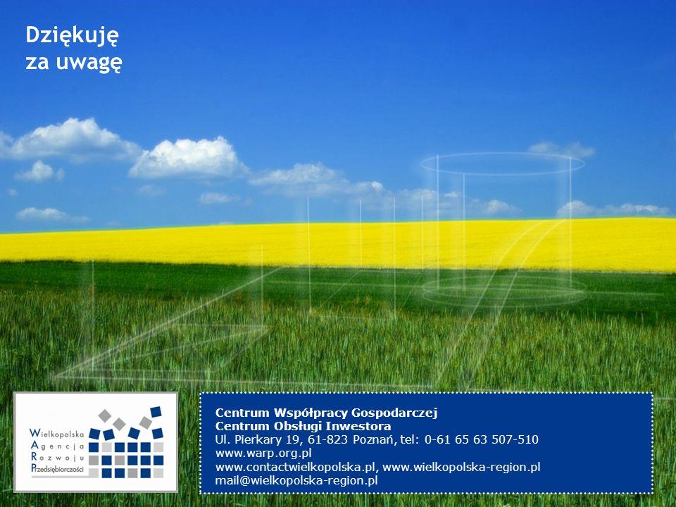 Dziękuję za uwagę Centrum Współpracy Gospodarczej Centrum Obsługi Inwestora Ul. Pierkary 19, 61-823 Poznań, tel: 0-61 65 63 507-510 www.warp.org.pl ww
