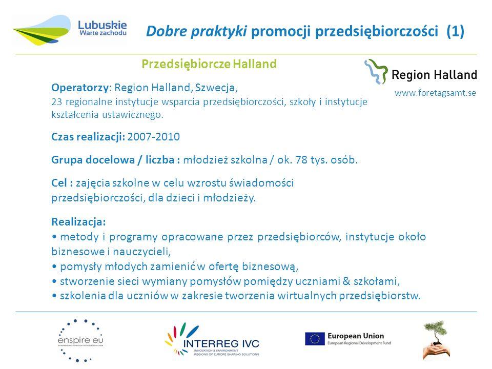 Dobre praktyki promocji przedsiębiorczości (1) Przedsiębiorcze Halland Operatorzy: Region Halland, Szwecja, 23 regionalne instytucje wsparcia przedsiębiorczości, szkoły i instytucje kształcenia ustawicznego.