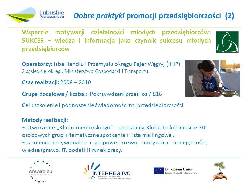 Dobre praktyki promocji przedsiębiorczości (2) Operatorzy: Izba Handlu i Przemysłu okręgu Fejer Węgry, (IHiP) 2 sąsiednie okręgi, Ministerstwo Gospodarki i Transportu.