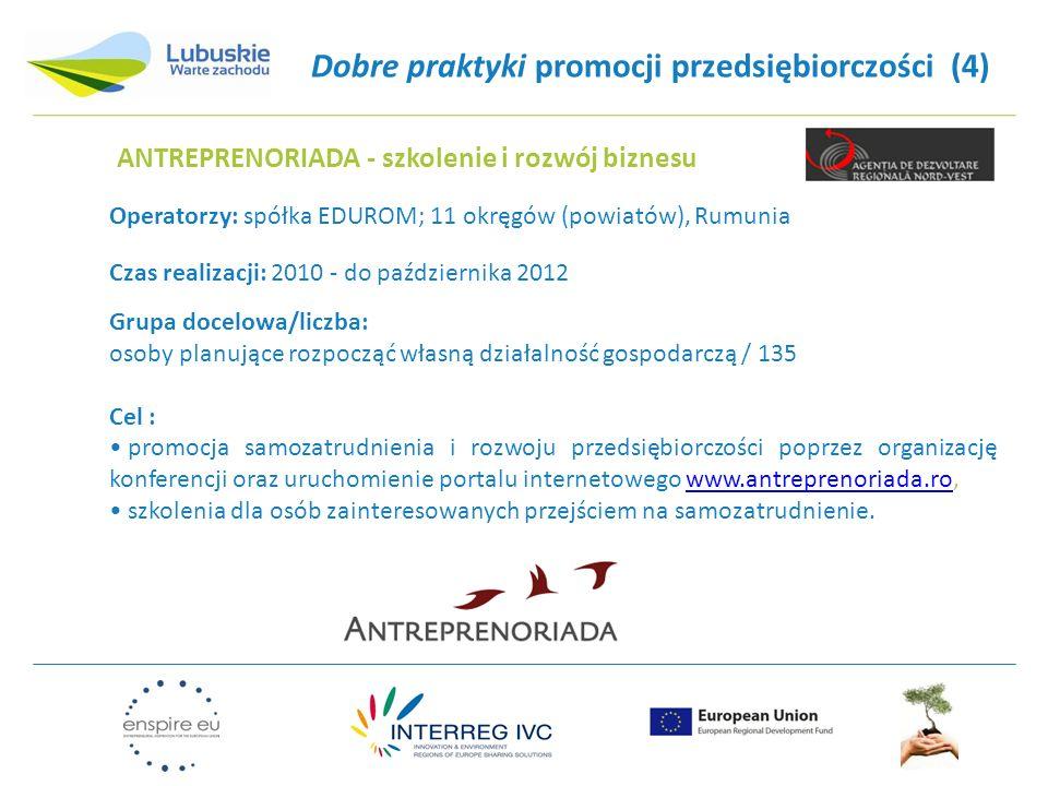 Dobre praktyki promocji przedsiębiorczości (4) Czas realizacji: 2010 - do października 2012 Grupa docelowa/liczba: osoby planujące rozpocząć własną dz
