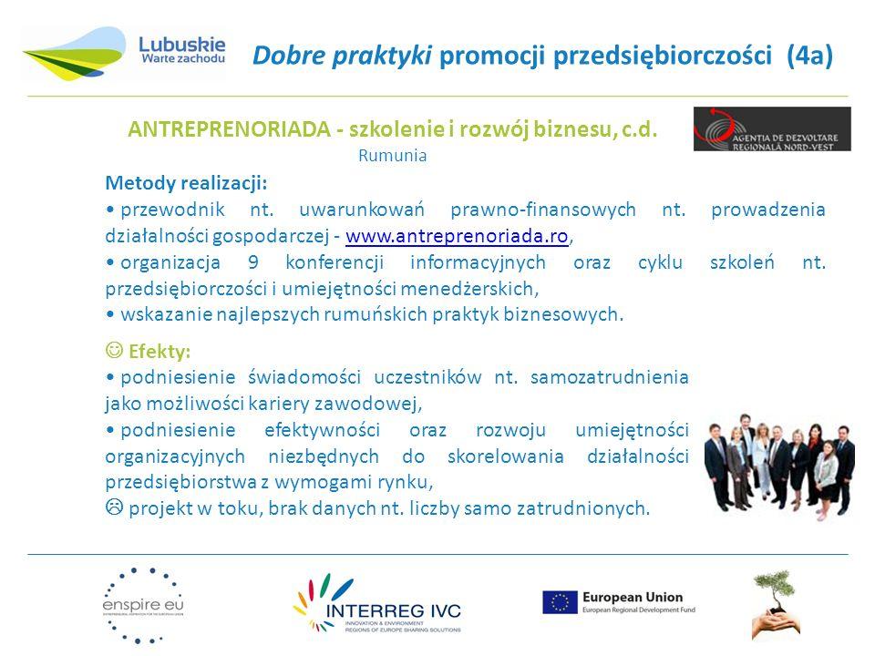 Dobre praktyki promocji przedsiębiorczości (4a) Metody realizacji: przewodnik nt. uwarunkowań prawno-finansowych nt. prowadzenia działalności gospodar
