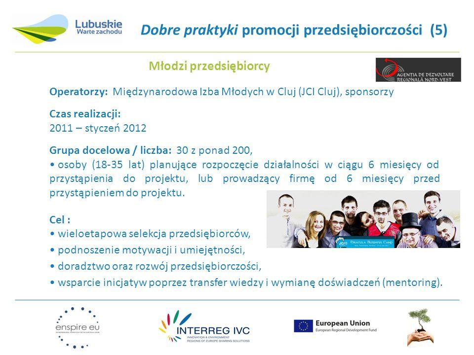 Dobre praktyki promocji przedsiębiorczości (5) Operatorzy: Międzynarodowa Izba Młodych w Cluj (JCI Cluj), sponsorzy Czas realizacji: 2011 – styczeń 2012 Grupa docelowa / liczba: 30 z ponad 200, osoby (18-35 lat) planujące rozpoczęcie działalności w ciągu 6 miesięcy od przystąpienia do projektu, lub prowadzący firmę od 6 miesięcy przed przystąpieniem do projektu.