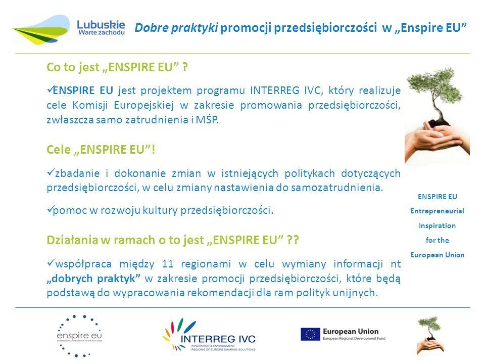 """Dobre praktyki promocji przedsiębiorczości w """"Enspire EU"""" Co to jest """"ENSPIRE EU"""" ? ENSPIRE EU jest projektem programu INTERREG IVC, który realizuje c"""