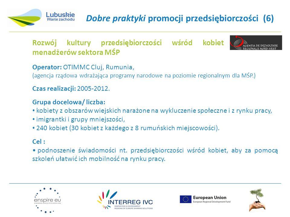 Dobre praktyki promocji przedsiębiorczości (6) Operator: OTIMMC Cluj, Rumunia, (agencja rządowa wdrażająca programy narodowe na poziomie regionalnym dla MŚP.) Czas realizacji: 2005-2012.
