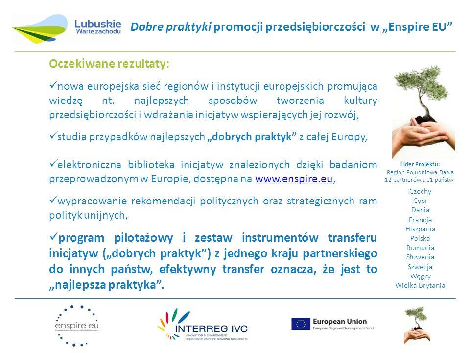 """Dobre praktyki promocji przedsiębiorczości w """"Enspire EU"""" Lider Projektu: Region Południowa Dania 12 partnerów z 11 państw: Czechy Cypr Dania Francja"""