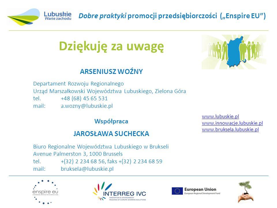 """Dobre praktyki promocji przedsiębiorczości (""""Enspire EU"""") Dziękuję za uwagę ARSENIUSZ WOŹNY Departament Rozwoju Regionalnego Urząd Marszałkowski Wojew"""