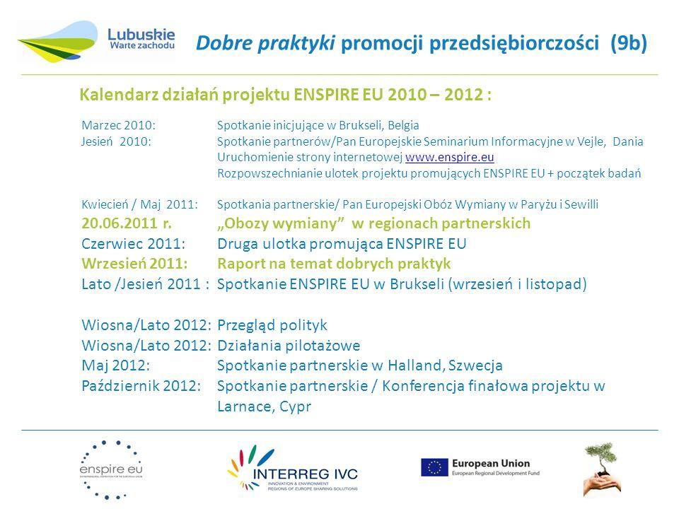 Dobre praktyki promocji przedsiębiorczości (9b) Kalendarz działań projektu ENSPIRE EU 2010 – 2012 : Marzec 2010:Spotkanie inicjujące w Brukseli, Belgi