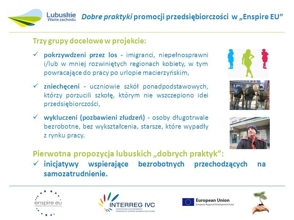 """Dobre praktyki promocji przedsiębiorczości w """"Enspire EU Trzy grupy docelowe w projekcie: pokrzywdzeni przez los - imigranci, niepełnosprawni i/lub w mniej rozwiniętych regionach kobiety, w tym powracające do pracy po urlopie macierzyńskim, zniechęceni - uczniowie szkół ponadpodstawowych, którzy porzucili szkołę, którym nie wszczepiono idei przedsiębiorczości, wykluczeni (pozbawieni złudzeń) - osoby długotrwale bezrobotne, bez wykształcenia, starsze, które wypadły z rynku pracy."""