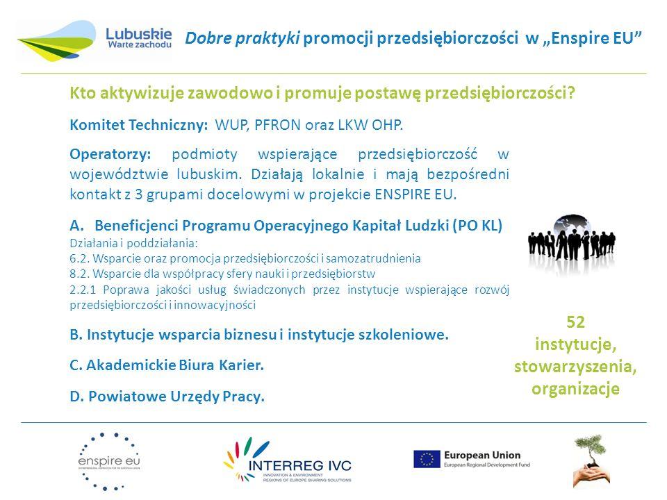 """Dobre praktyki promocji przedsiębiorczości w """"Enspire EU"""" Kto aktywizuje zawodowo i promuje postawę przedsiębiorczości? Komitet Techniczny: WUP, PFRON"""