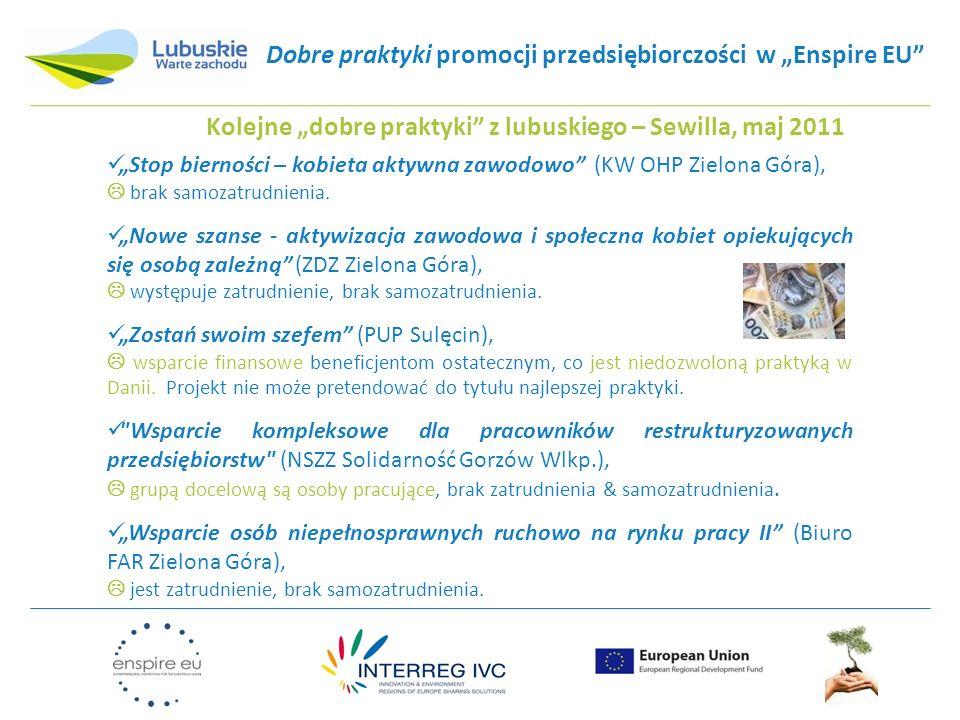 """Dobre praktyki promocji przedsiębiorczości w """"Enspire EU"""" Kolejne """"dobre praktyki"""" z lubuskiego – Sewilla, maj 2011 """"Stop bierności – kobieta aktywna"""