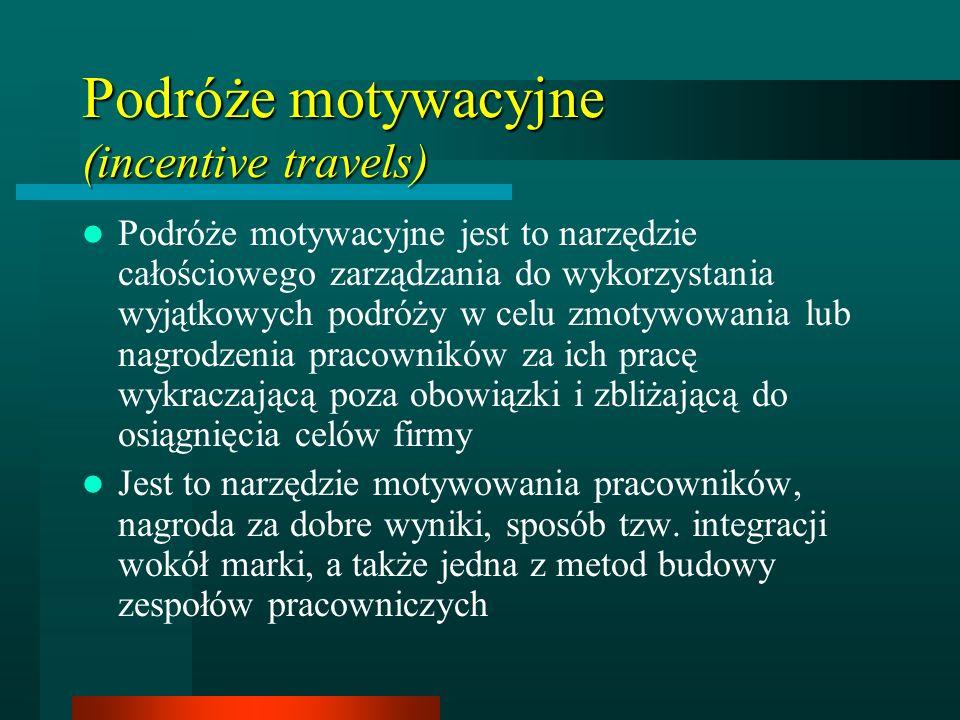 Podróże motywacyjne (incentive travels) Podróże motywacyjne jest to narzędzie całościowego zarządzania do wykorzystania wyjątkowych podróży w celu zmotywowania lub nagrodzenia pracowników za ich pracę wykraczającą poza obowiązki i zbliżającą do osiągnięcia celów firmy Jest to narzędzie motywowania pracowników, nagroda za dobre wyniki, sposób tzw.