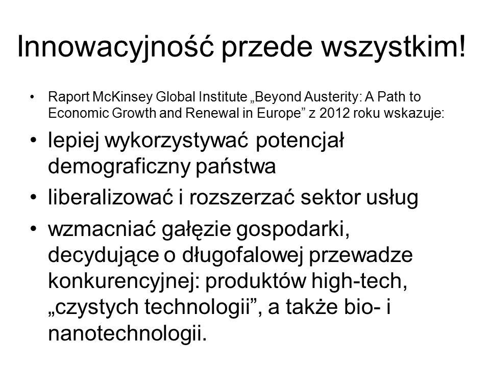 """Innowacyjność przede wszystkim! Raport McKinsey Global Institute """"Beyond Austerity: A Path to Economic Growth and Renewal in Europe"""" z 2012 roku wskaz"""