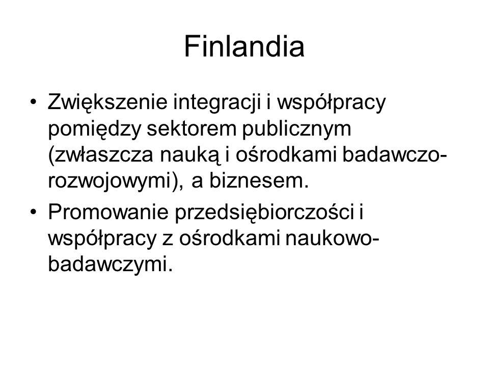 Finlandia Zwiększenie integracji i współpracy pomiędzy sektorem publicznym (zwłaszcza nauką i ośrodkami badawczo- rozwojowymi), a biznesem. Promowanie