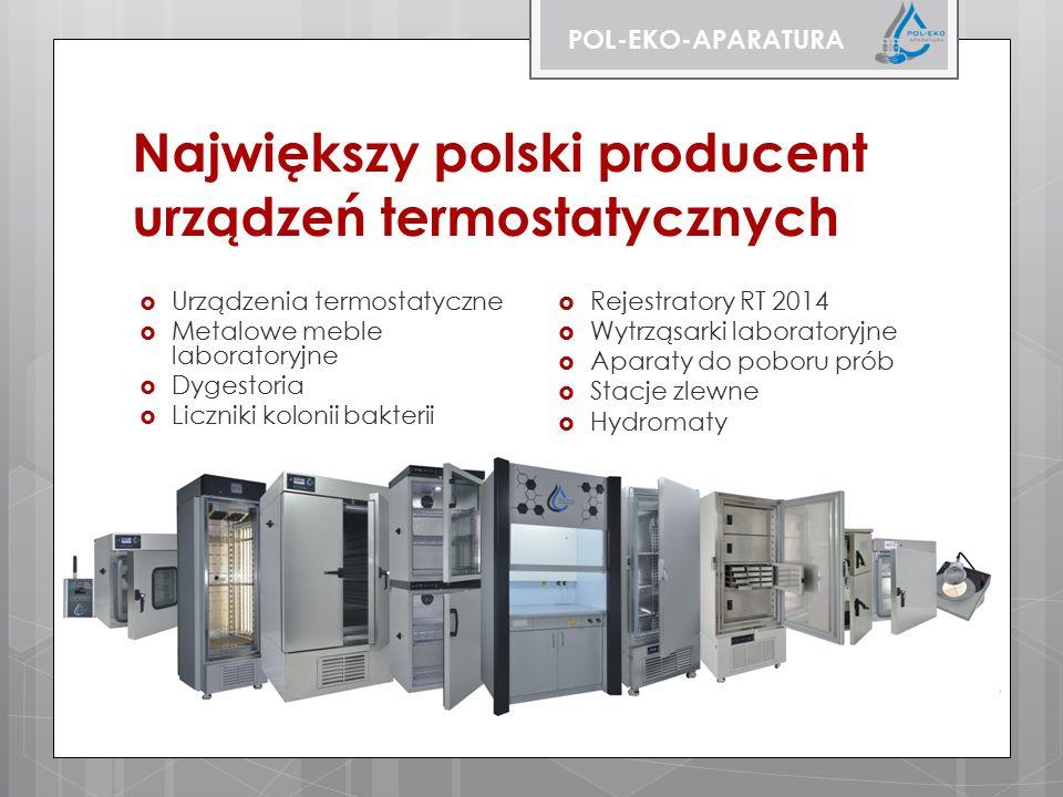 Największy polski producent urządzeń termostatycznych  Urządzenia termostatyczne  Metalowe meble laboratoryjne  Dygestoria  Liczniki kolonii bakterii  Rejestratory RT 2014  Wytrząsarki laboratoryjne  Aparaty do poboru prób  Stacje zlewne  Hydromaty POL-EKO-APARATURA