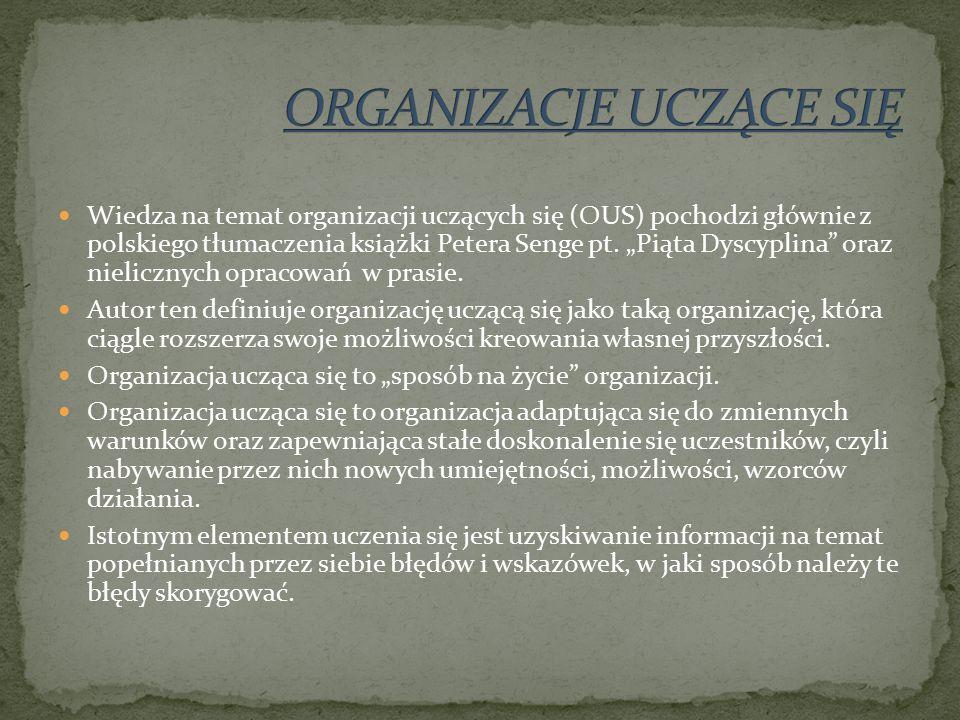 Wiedza na temat organizacji uczących się (OUS) pochodzi głównie z polskiego tłumaczenia książki Petera Senge pt.