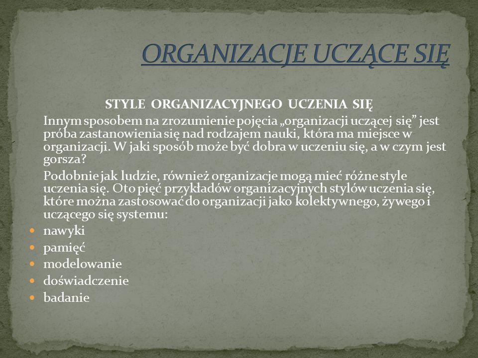 """STYLE ORGANIZACYJNEGO UCZENIA SIĘ Innym sposobem na zrozumienie pojęcia """"organizacji uczącej się jest próba zastanowienia się nad rodzajem nauki, która ma miejsce w organizacji."""