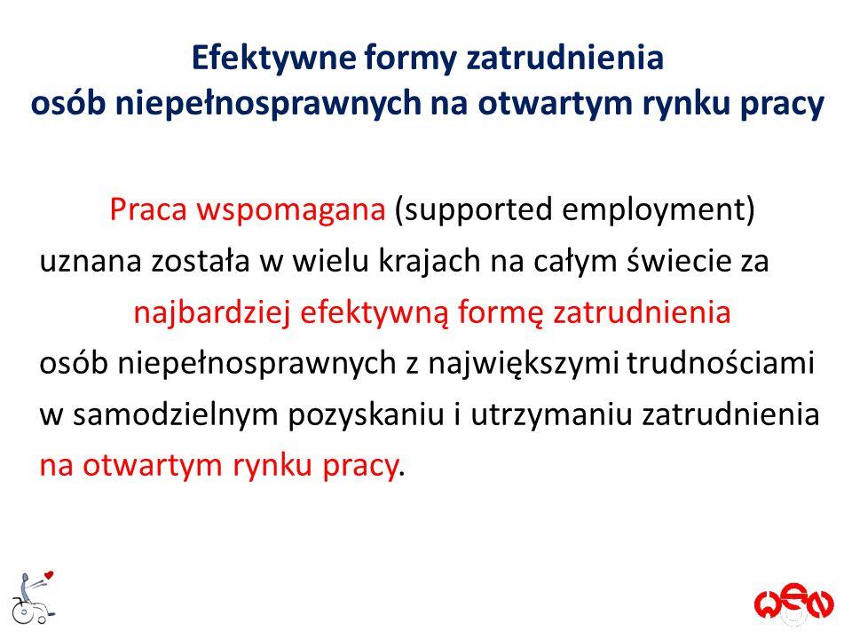Efektywne formy zatrudnienia osób niepełnosprawnych na otwartym rynku pracy Praca wspomagana (supported employment) uznana została w wielu krajach na całym świecie za najbardziej efektywną formę zatrudnienia osób niepełnosprawnych z największymi trudnościami w samodzielnym pozyskaniu i utrzymaniu zatrudnienia na otwartym rynku pracy.