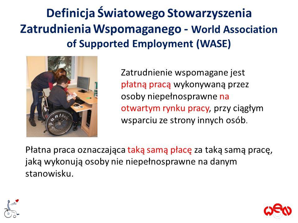 Definicja Światowego Stowarzyszenia Zatrudnienia Wspomaganego - World Association of Supported Employment (WASE) Zatrudnienie wspomagane jest płatną pracą wykonywaną przez osoby niepełnosprawne na otwartym rynku pracy, przy ciągłym wsparciu ze strony innych osób.