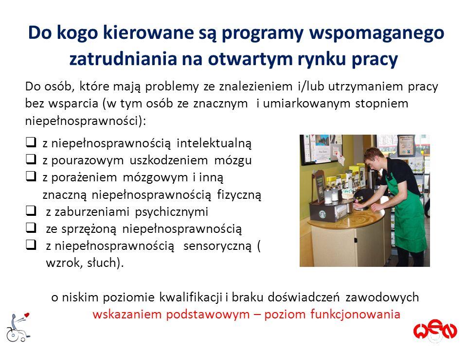 Do kogo kierowane są programy wspomaganego zatrudniania na otwartym rynku pracy Do osób, które mają problemy ze znalezieniem i/lub utrzymaniem pracy bez wsparcia (w tym osób ze znacznym i umiarkowanym stopniem niepełnosprawności):  z niepełnosprawnością intelektualną  z pourazowym uszkodzeniem mózgu  z porażeniem mózgowym i inną znaczną niepełnosprawnością fizyczną  z zaburzeniami psychicznymi  ze sprzężoną niepełnosprawnością  z niepełnosprawnością sensoryczną ( wzrok, słuch).