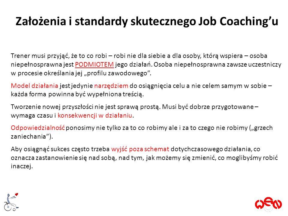 Założenia i standardy skutecznego Job Coaching'u Trener musi przyjąć, że to co robi – robi nie dla siebie a dla osoby, którą wspiera – osoba niepełnosprawna jest PODMIOTEM jego działań.
