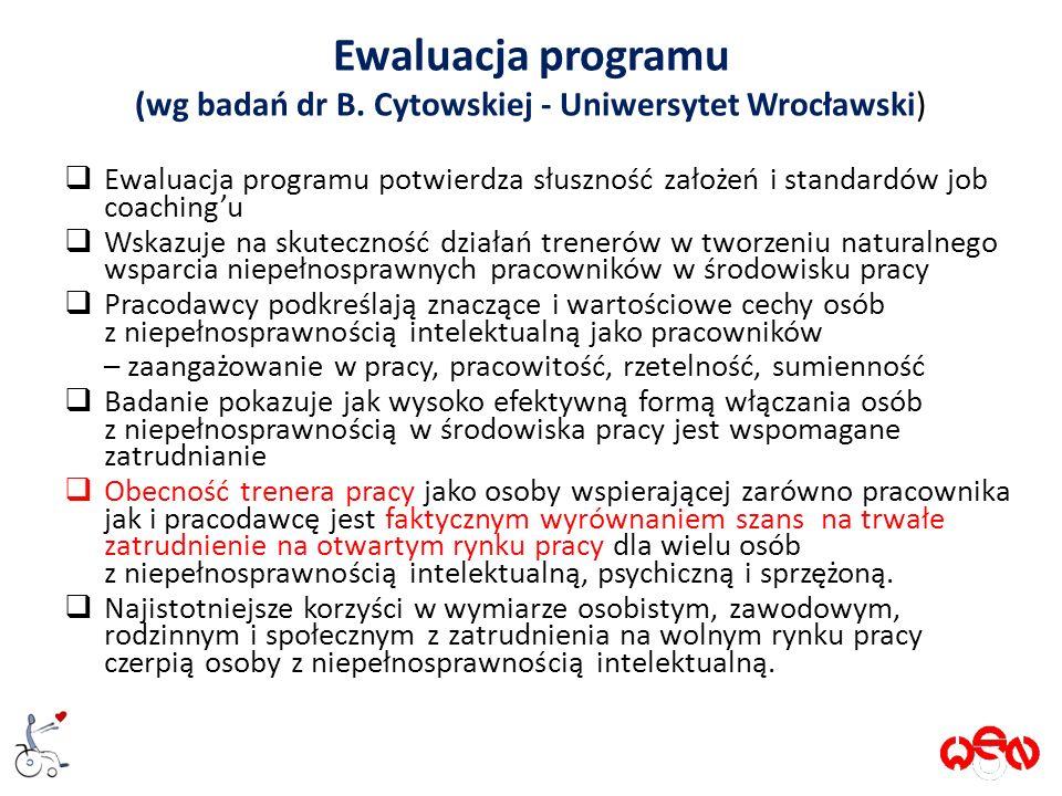 Ewaluacja programu (wg badań dr B.