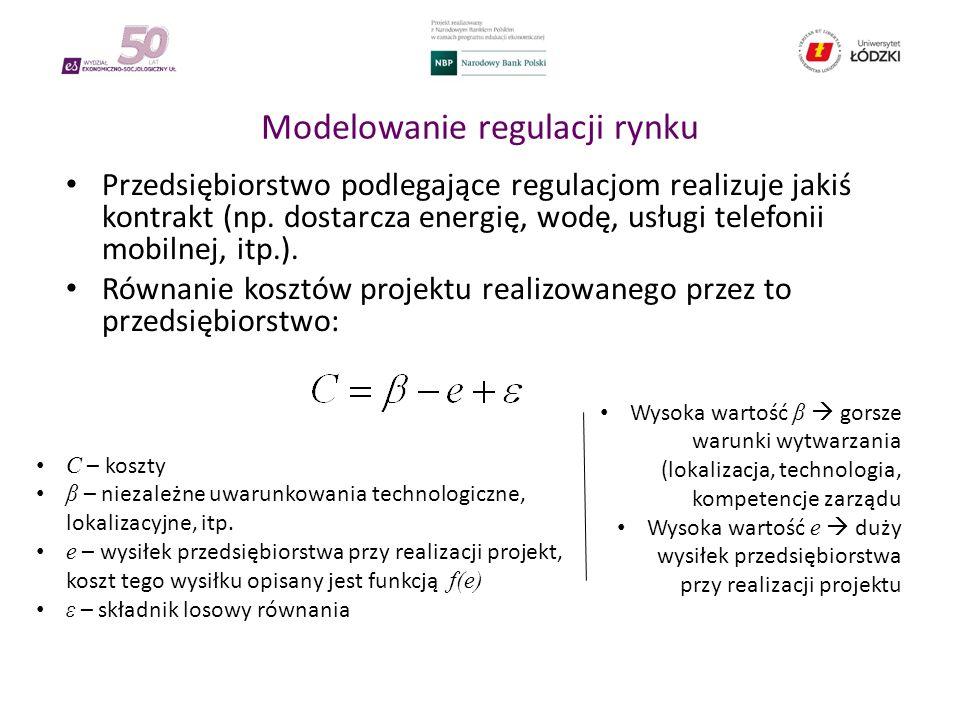 Modelowanie regulacji rynku Przedsiębiorstwo podlegające regulacjom realizuje jakiś kontrakt (np.