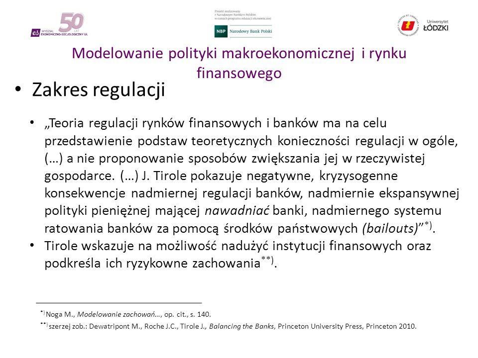"""Modelowanie polityki makroekonomicznej i rynku finansowego Zakres regulacji """"Teoria regulacji rynków finansowych i banków ma na celu przedstawienie podstaw teoretycznych konieczności regulacji w ogóle, (…) a nie proponowanie sposobów zwiększania jej w rzeczywistej gospodarce."""