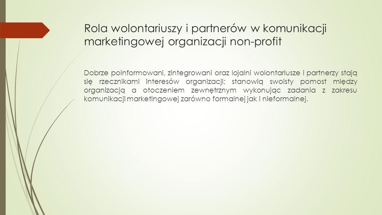 Rola wolontariuszy i partnerów w komunikacji marketingowej organizacji non-profit Dobrze poinformowani, zintegrowani oraz lojalni wolontariusze i partnerzy stają się rzecznikami interesów organizacji; stanowią swoisty pomost między organizacją a otoczeniem zewnętrznym wykonując zadania z zakresu komunikacji marketingowej zarówno formalnej jak i nieformalnej.