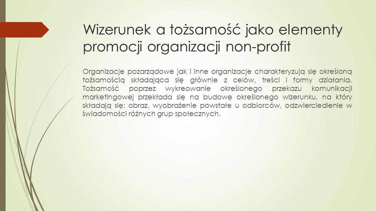 Wizerunek a tożsamość jako elementy promocji organizacji non-profit Organizacje pozarządowe jak i inne organizacje charakteryzują się określoną tożsamością składająca się głównie z celów, treści i formy działania.