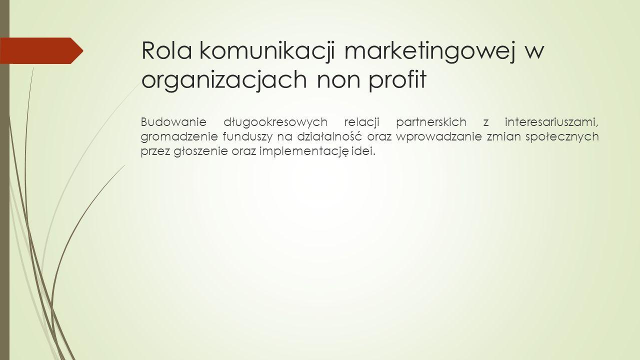 Rola komunikacji marketingowej w organizacjach non profit Budowanie długookresowych relacji partnerskich z interesariuszami, gromadzenie funduszy na działalność oraz wprowadzanie zmian społecznych przez głoszenie oraz implementację idei.
