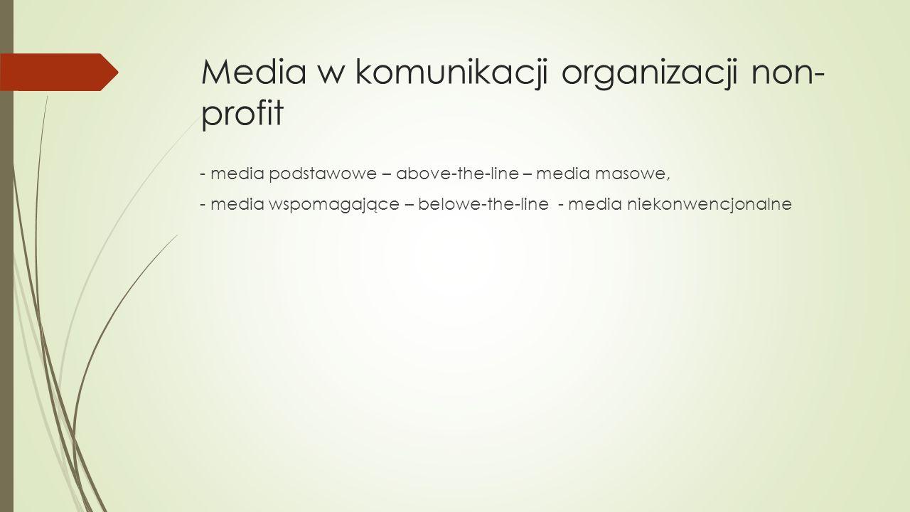 Media w komunikacji organizacji non- profit - media podstawowe – above-the-line – media masowe, - media wspomagające – belowe-the-line - media niekonwencjonalne