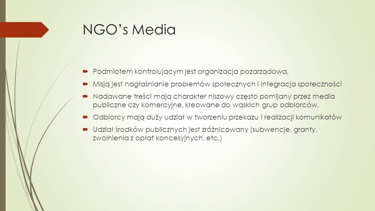 NGO's Media  Podmiotem kontrolującym jest organizacja pozarządowa,  Misją jest nagłaśnianie problemów społecznych i integracja społeczności  Nadawane treści mają charakter niszowy często pomijany przez media publiczne czy komercyjne, kreowane do wąskich grup odbiorców,  Odbiorcy mają duży udział w tworzeniu przekazu i realizacji komunikatów  Udział środków publicznych jest zróżnicowany (subwencje, granty, zwolnienia z opłat koncesyjnych, etc.)