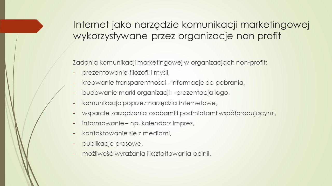 Internet jako narzędzie komunikacji marketingowej wykorzystywane przez organizacje non profit Zadania komunikacji marketingowej w organizacjach non-profit: -prezentowanie filozofii i myśli, -kreowanie transparentności - informacje do pobrania, -budowanie marki organizacji – prezentacja logo, -komunikacja poprzez narzędzia internetowe, -wsparcie zarządzania osobami i podmiotami współpracującymi, -informowanie – np.