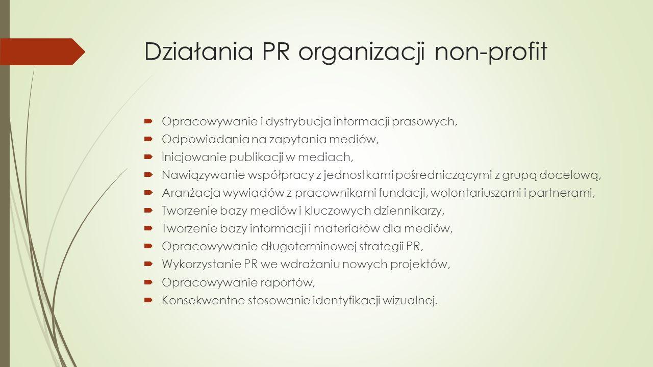 Działania PR organizacji non-profit  Opracowywanie i dystrybucja informacji prasowych,  Odpowiadania na zapytania mediów,  Inicjowanie publikacji w mediach,  Nawiązywanie współpracy z jednostkami pośredniczącymi z grupą docelową,  Aranżacja wywiadów z pracownikami fundacji, wolontariuszami i partnerami,  Tworzenie bazy mediów i kluczowych dziennikarzy,  Tworzenie bazy informacji i materiałów dla mediów,  Opracowywanie długoterminowej strategii PR,  Wykorzystanie PR we wdrażaniu nowych projektów,  Opracowywanie raportów,  Konsekwentne stosowanie identyfikacji wizualnej.