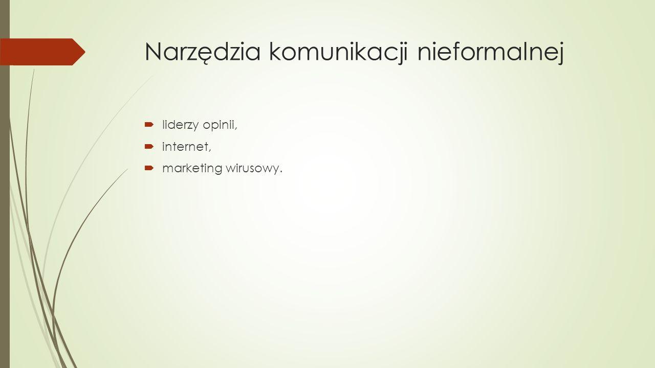 Narzędzia komunikacji nieformalnej  liderzy opinii,  internet,  marketing wirusowy.