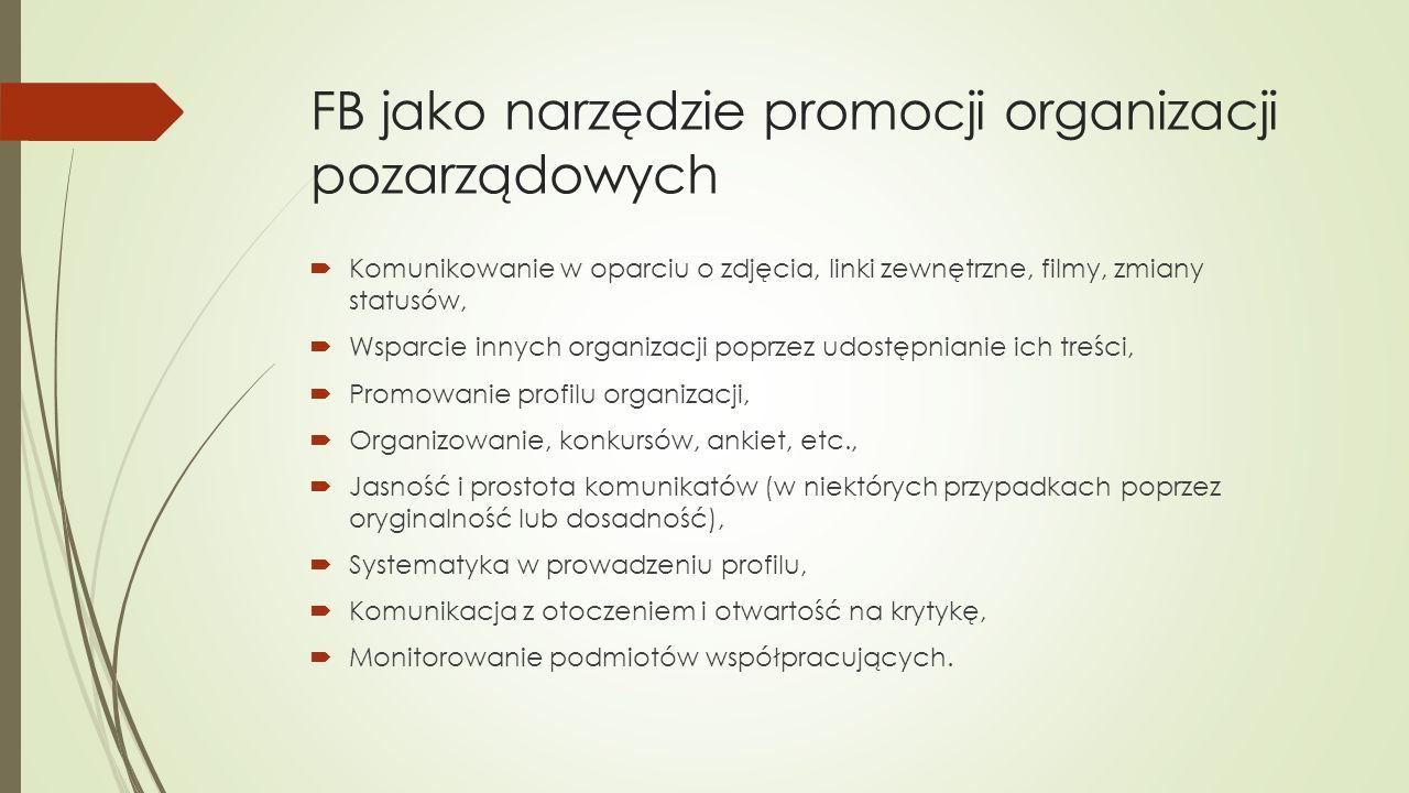 FB jako narzędzie promocji organizacji pozarządowych  Komunikowanie w oparciu o zdjęcia, linki zewnętrzne, filmy, zmiany statusów,  Wsparcie innych organizacji poprzez udostępnianie ich treści,  Promowanie profilu organizacji,  Organizowanie, konkursów, ankiet, etc.,  Jasność i prostota komunikatów (w niektórych przypadkach poprzez oryginalność lub dosadność),  Systematyka w prowadzeniu profilu,  Komunikacja z otoczeniem i otwartość na krytykę,  Monitorowanie podmiotów współpracujących.