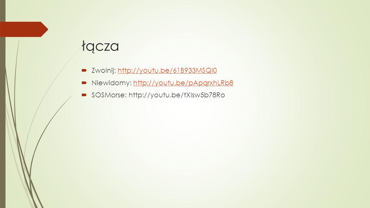 łącza  Zwolnij: http://youtu.be/61B933MSQl0http://youtu.be/61B933MSQl0  Niewidomy: http://youtu.be/pApqrxhLRb8http://youtu.be/pApqrxhLRb8  SOSMorse: http://youtu.be/tXIsw5b78Ro