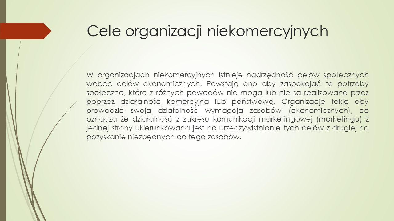 Cele organizacji niekomercyjnych W organizacjach niekomercyjnych istnieje nadrzędność celów społecznych wobec celów ekonomicznych.