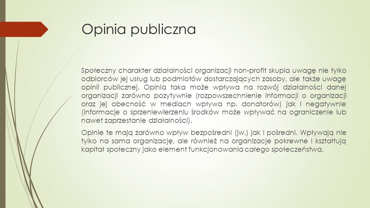 Opinia publiczna Społeczny charakter działalności organizacji non-profit skupia uwagę nie tylko odbiorców jej usług lub podmiotów dostarczających zasoby, ale także uwagę opinii publicznej.