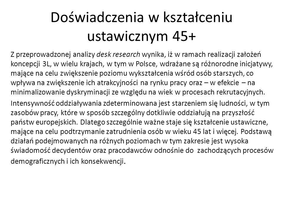 Doświadczenia w kształceniu ustawicznym 45+ Z przeprowadzonej analizy desk research wynika, iż w ramach realizacji założeń koncepcji 3L, w wielu krajach, w tym w Polsce, wdrażane są różnorodne inicjatywy, mające na celu zwiększenie poziomu wykształcenia wśród osób starszych, co wpływa na zwiększenie ich atrakcyjności na rynku pracy oraz – w efekcie – na minimalizowanie dyskryminacji ze względu na wiek w procesach rekrutacyjnych.