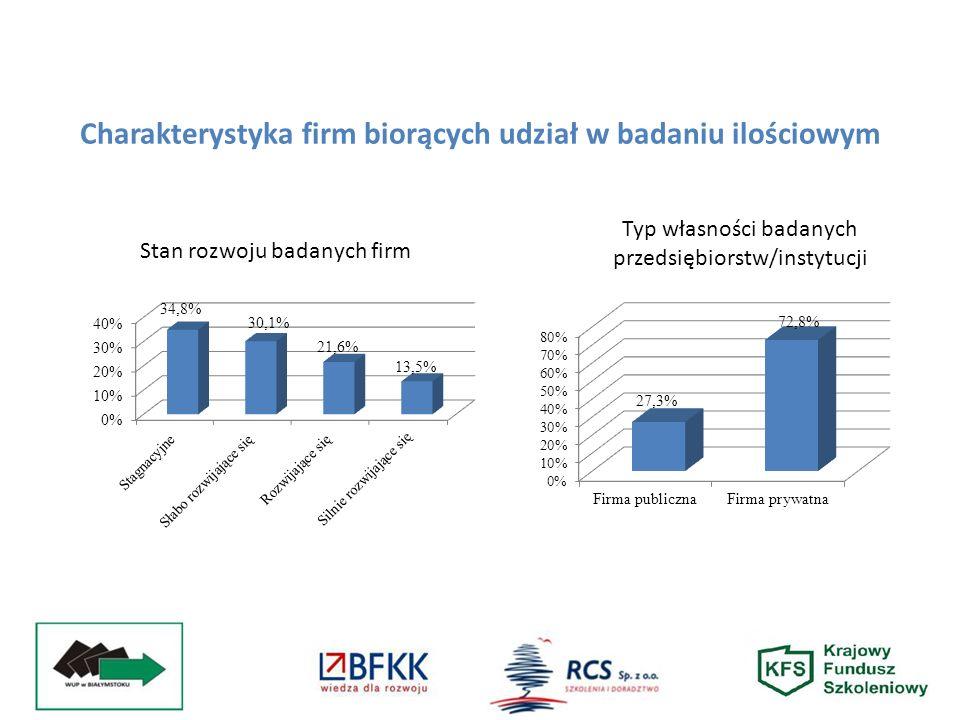 Stan rozwoju badanych firm Typ własności badanych przedsiębiorstw/instytucji Charakterystyka firm biorących udział w badaniu ilościowym