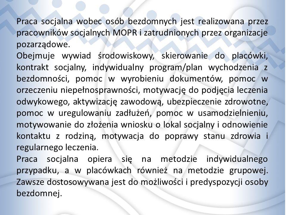 Praca socjalna wobec osób bezdomnych jest realizowana przez pracowników socjalnych MOPR i zatrudnionych przez organizacje pozarządowe.