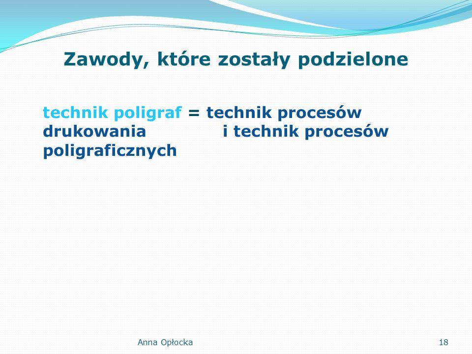 Zawody, które zostały podzielone technik poligraf = technik procesów drukowania i technik procesów poligraficznych 18Anna Opłocka