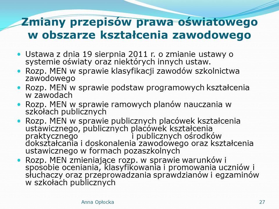 Zmiany przepisów prawa oświatowego w obszarze kształcenia zawodowego Ustawa z dnia 19 sierpnia 2011 r.