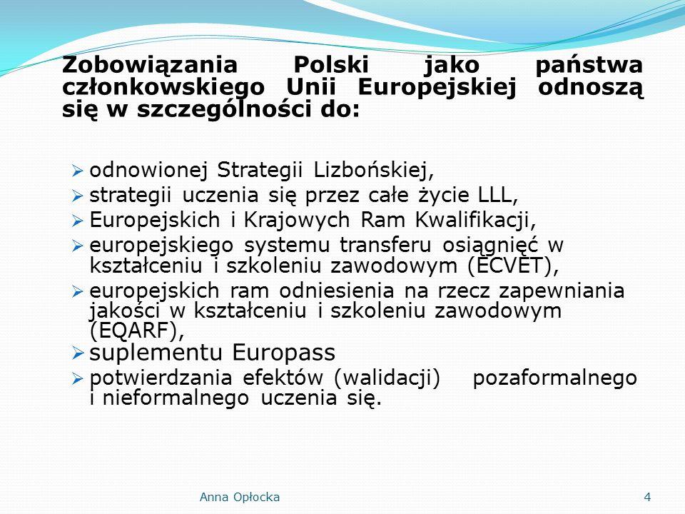 Zobowiązania Polski jako państwa członkowskiego Unii Europejskiej odnoszą się w szczególności do:  odnowionej Strategii Lizbońskiej,  strategii uczenia się przez całe życie LLL,  Europejskich i Krajowych Ram Kwalifikacji,  europejskiego systemu transferu osiągnięć w kształceniu i szkoleniu zawodowym (ECVET),  europejskich ram odniesienia na rzecz zapewniania jakości w kształceniu i szkoleniu zawodowym (EQARF),  suplementu Europass  potwierdzania efektów (walidacji) pozaformalnego i nieformalnego uczenia się.