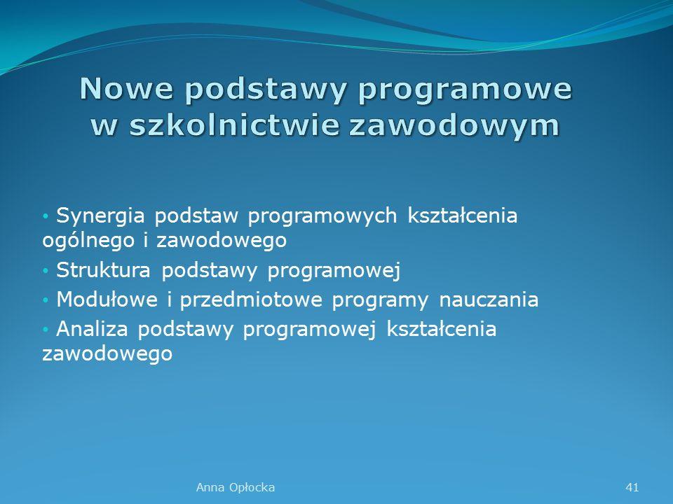 Synergia podstaw programowych kształcenia ogólnego i zawodowego Struktura podstawy programowej Modułowe i przedmiotowe programy nauczania Analiza podstawy programowej kształcenia zawodowego 41Anna Opłocka