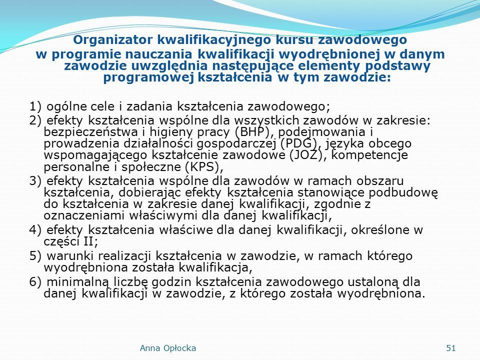 Organizator kwalifikacyjnego kursu zawodowego w programie nauczania kwalifikacji wyodrębnionej w danym zawodzie uwzględnia następujące elementy podstawy programowej kształcenia w tym zawodzie: 1) ogólne cele i zadania kształcenia zawodowego; 2) efekty kształcenia wspólne dla wszystkich zawodów w zakresie: bezpieczeństwa i higieny pracy (BHP), podejmowania i prowadzenia działalności gospodarczej (PDG), języka obcego wspomagającego kształcenie zawodowe (JOZ), kompetencje personalne i społeczne (KPS), 3) efekty kształcenia wspólne dla zawodów w ramach obszaru kształcenia, dobierając efekty kształcenia stanowiące podbudowę do kształcenia w zakresie danej kwalifikacji, zgodnie z oznaczeniami właściwymi dla danej kwalifikacji, 4) efekty kształcenia właściwe dla danej kwalifikacji, określone w części II; 5) warunki realizacji kształcenia w zawodzie, w ramach którego wyodrębniona została kwalifikacja, 6) minimalną liczbę godzin kształcenia zawodowego ustaloną dla danej kwalifikacji w zawodzie, z którego została wyodrębniona.