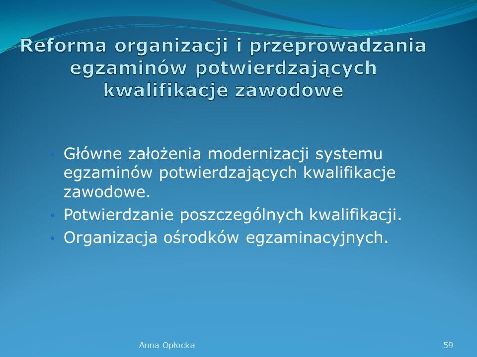 Główne założenia modernizacji systemu egzaminów potwierdzających kwalifikacje zawodowe.