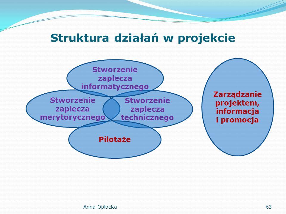 Struktura działań w projekcie Stworzenie zaplecza merytorycznego Stworzenie zaplecza technicznego Stworzenie zaplecza informatycznego Pilotaże Zarządzanie projektem, informacja i promocja 63Anna Opłocka